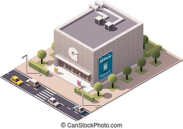 Vector isometric gadget shop