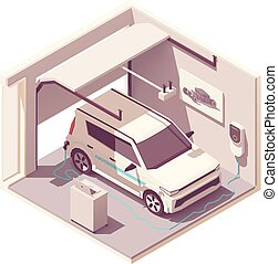 Vector isometric garage and electric vehicle