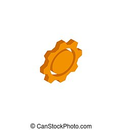 Vector isometric gear icon on a white background