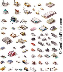 vector, isometric, gebouwen, set