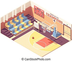 Vector isometric gymnasium basketball court