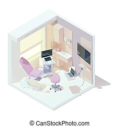 Vector isometric gynecologist office interior. Gynecological examination table, ultrasound machine, doctor chair and other hospital equipment