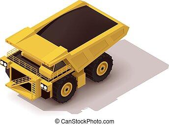 Isometric icon representing heavy yellow mine dumper truck