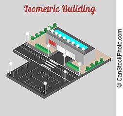 vector, isometric, het winkelen wandelgalerij, gebouw, icon., winkel, 3d, model.