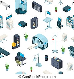 Vector isometric hospital icons pattern or background illustration