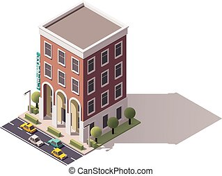 Vector isometric hostel building - Isometric icon...