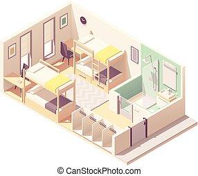 Vector isometric hostel room cross-section - Vector...