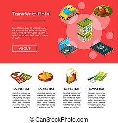 Vector isometric hotel icons page illustration