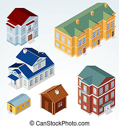 Vector Isometric House #1 - Set of Isolated Isometric...