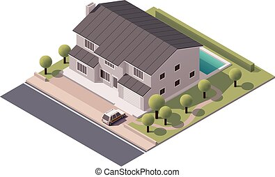 Vector isometric house - Isometric icon representing house...