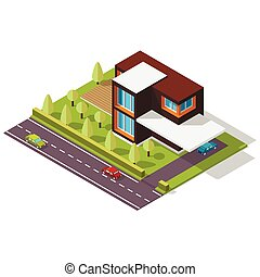 isometric house in the Scandinavian style