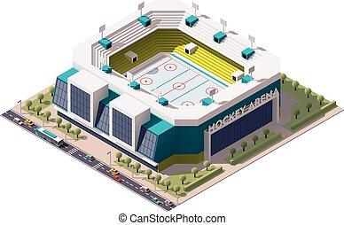 Isometric icon representing ice hockey stadium