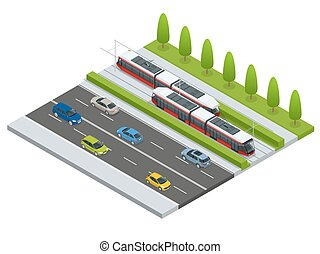 Vector isometric icon City Transport or infographic element tramway approaching tram station on the street with cars. Urban transportation vehicles