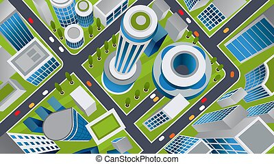 Vector isometric illustration of a futuristic city