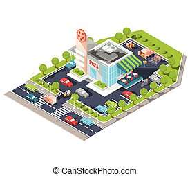 Vector isometric illustration of a modern Italian fast food restaurant with parking.