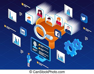 Vector isometric illustration of a lead generation process