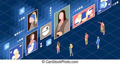 Vector isometric illustration of a modern digital museum