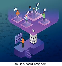 Vector isometric illustration of a modern work environment