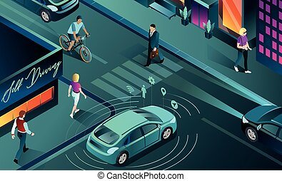 Vector isometric illustration of a self-driving car