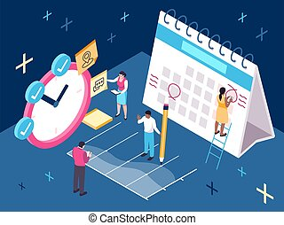 Vector isometric illustration of a time management