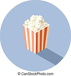 Vector isometric illustration of box with popcorn, cinema food