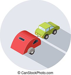 Vector isometric illustration of Camping trailer with car