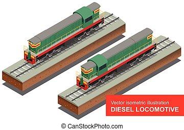 Vector isometric illustration of Diesel Locomotivel. Train Locomotive Transportation Railway Transport flat 3d vector illustration.