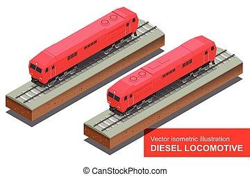 Vector isometric illustration of Diesel Locomotivel. Train Locomotive Transportation Railway Transport vector flat 3d isometric illustration.