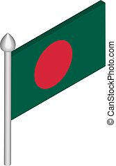 Vector Isometric Illustration of Flagpole with Bangladesh Flag