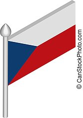 Vector Isometric Illustration of Flagpole with Czech Republic Flag