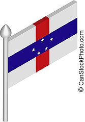 Vector Isometric Illustration of Flagpole with Netherlands ...