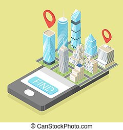 Vector isometric illustration of mobile navigation.