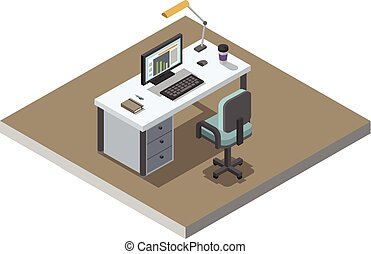 Vector isometric illustration of office working place, 3d flat interior design
