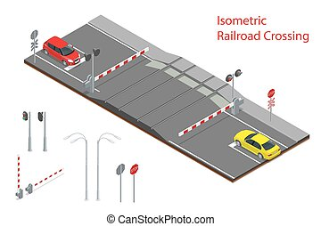 Vector isometric illustration of  Railway crossing. A railway level crossing, with barriers closed and lights flashing.