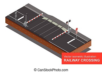 Vector isometric illustration of Railway crossing. A railway...