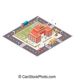 Vector isometric illustration of school building