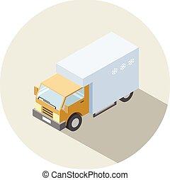 Vector isometric illustration of Truck with fridge