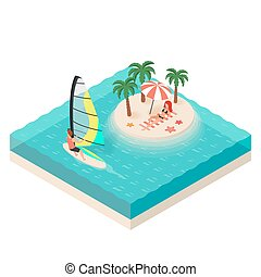 Vector isometric illustration of windsurfer. Tropical island on the sea