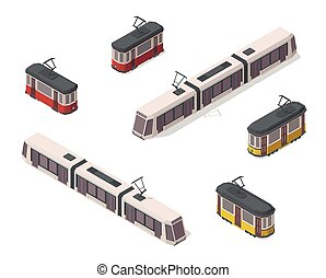 Vector isometric illustration of yellow, red and white trams. Railroad elements. Front and back. Old vintage and modern streetcars. City elements. Icons.