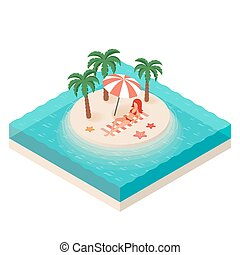 Vector isometric illustration of young woman. Tropical island in the sea.