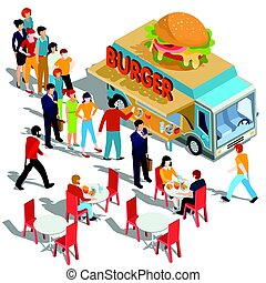 Vector isometric illustration people order and buy food and drink in a hamburger food truck
