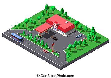Vector Isometric illustration.Gas station and mini-market near highway road