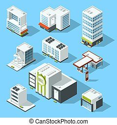 Vector isometric illustrations of hypermarket, bank and...