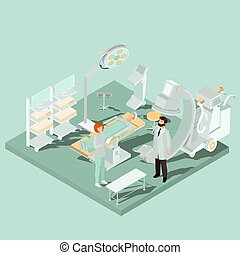 Vector isometric interior of operating room with operating ...