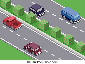 isometric car on the road