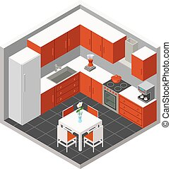 Vector isometric kitchen