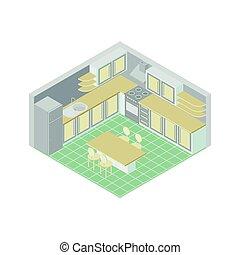 Vector isometric kitchen room icon.