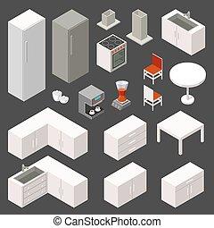 Vector isometric kitchen set
