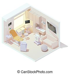 Vector isometric hospital labor and delivery or birthing room. LDR room interior. Birthing bed, anesthesia cart, newborn baby bassinet and other maternity hospital equipment