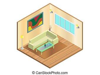 Vector isometric living room icon.